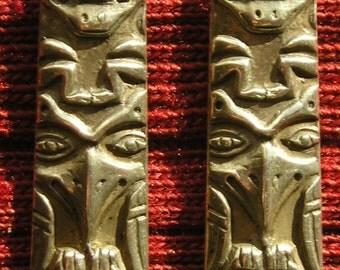 Long Northwest Coast Sterling Silver Totem Pole Dangle Earrings