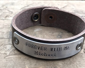 Memorial Bracelet Leather Custom Memorial Jewelry Personalized Bracelet In Memory Tribute