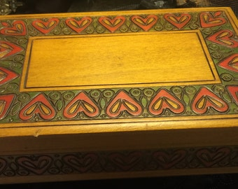 Vintage Hand carved Box Hearts Marked Poland