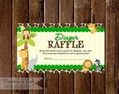 10% OFF SALE Safari Theme Diaper Raffle Ticket, Jungle Animals Diaper Raffle, Printable Raffle Ticket, Baby Shower Raffle Ticket, DIY, Safar