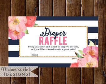 Diaper Raffle Ticket, Diaper Shower, Floral Watercolor, Navy and White Stripes, Pink and Coral Flowers, Printable Shower