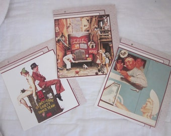 NORMAN ROCKWELL CALENDAR Prints for Crafting Set Of three
