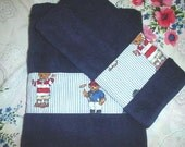 Decorated Towels 1 Bath Towel - 2 Hand Towels Ralph Lauren fabric POLO TEDDY