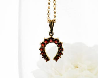 Vintage Garnet Horseshoe Necklace | Bohemian Red Garnet Pendant | Pyrope Garnets | Garnet Gold, Gilded 900 Silver - 20 Inch Chain Included