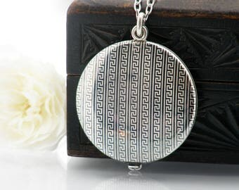 Niello Silver Antique Locket | Edwardian Locket | Greek Key Pattern | Large Round Slide Photo Locket | Austrian 800 Silver - 34 Inch Chain