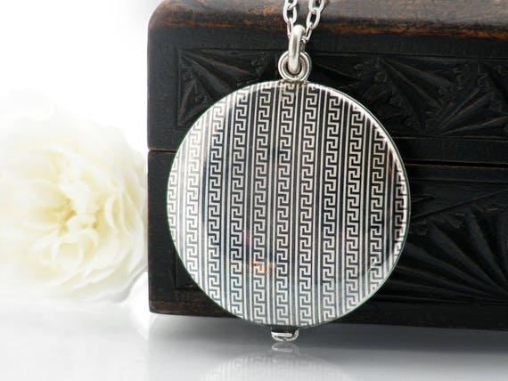 Niello Silver Antique Locket | Edwardian Locket | Greek Key Pattern | Large Round Slide Photo Locket | Austrian 800 Silver - 34 Inch Chain