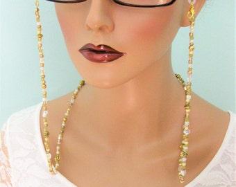 Gold Eyeglass Chain, Eyeglass Chain, Beaded Necklaces, Eyeglass Chains, Glasses Chain, Eyeglass Holder, Beaded Eyeglass Chain, EH039