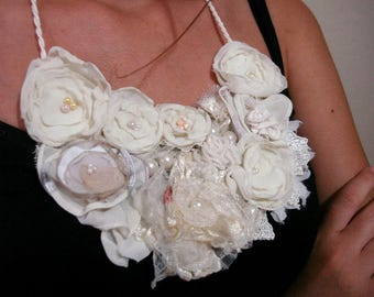 Wedding bib necklace, ivory cram fabric flower necklace, Boho Necklace flower garden bib rosette  necklace