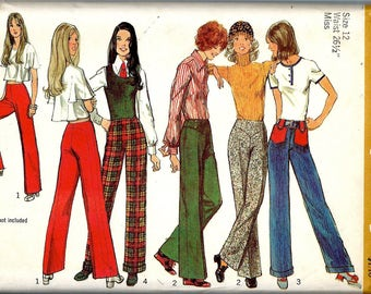 """1970's Simplicity Pattern No. 5090 of a High Waisted Pant with no Waistband and Straight Legs , Charlie's Angels - Waist  26 1/2""""  UNCUT"""