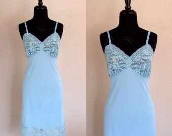 Vintage 1950's Sky Blue Slip / Underneath It All / 50's Lace & Nylon Slip Dress