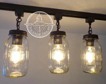 Mason Jar TRACK LIGHT Trio NEW Quarts - Flush Mount Ceiling Lighting Fixture Farmhouse Chandelier Fan Country Pendant Lamp FixerUpper Goods