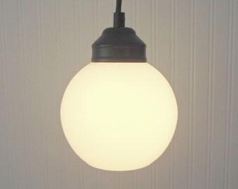 Vintage Hand-Blown Milk Glass PENDANT Light - Farmhouse Chandelier Lighting Fixture Ceiling Flush Mount Kitchen Bathroom Lamp Goods