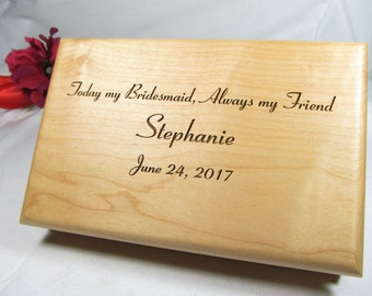 6 Engraved Jewelry Boxes, Personalized Bridesmaid Gifts, Maid of Honor Gifts, Flower Girl Gifts, Wedding Bridal Party Custom Keepsake Boxes