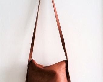Messenger bag ,cross-body leather - orang brown
