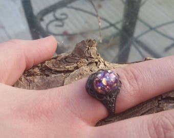 Purple Opal Ring With Fire, Gunmetal Ring, Opal ring blackened, Gothic Ring, Goth Earrings, black ring, Summer Gifts, Amethyst Opal Ring