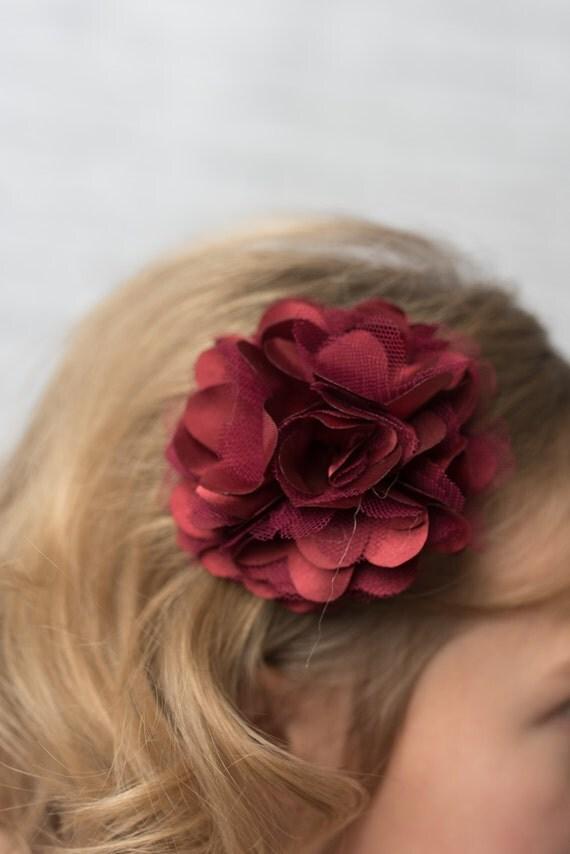 Burgundy Flower Clip Girl Hair Accessories Wedding Flower