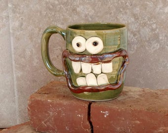 Father's Day Gift for Him. Large 14 Oz Green Pottery Coffee Cup Man Husband Gift for Him Funny Big Smile Googly Eye Face Ceramic Stein.