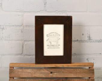 "4x6 Picture Frame Reclaimed Cedar 1.5"" Wide Wood with Vintage Dark Wood Tone Finish - IN STOCK - Same Day Shipping - 4 x 6 Frame"