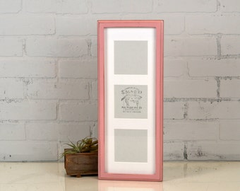 """6.5x17.5"""" Multiple Mat Window Frame for (3) 4x4 inch Photos in Deep Out Cove style with Vintage Rose Pink Finish  IN STOCK  Same Day Ship"""