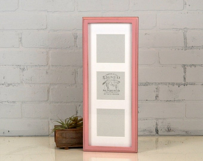 "6.5x17.5"" Multiple Mat Window Frame for (3) 4x4 inch Photos in Deep Out Cove style with Vintage Rose Pink Finish  IN STOCK  Same Day Ship"