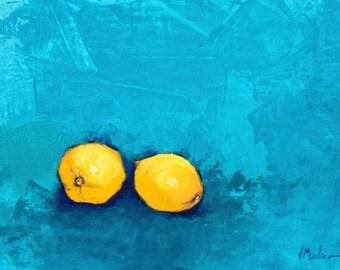 Lemons Acrylic Painting on Canvas Board Original
