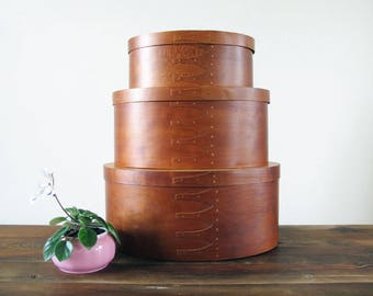 Set of 3 Nesting Shaker Style Wooden Boxes Oval