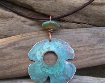 Copper Pendant Blue Green Patina Lampwork Bead