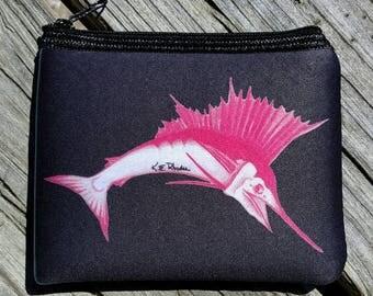 Pink Sailfish on deep Navy art Coin Purse zippered pouch neoprene