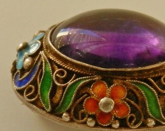 Deep Amethyst and colored Cloisonne filigree frame Sterling Pin Brooch marked - 1920 Old China Treasure - Art.884/2 -