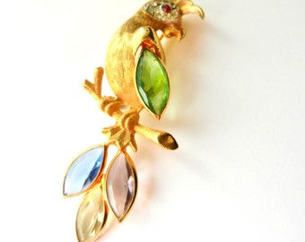 BSK Parrot Brooch Quality Costume Jewelry-unfoiled navette in pastel colors,bright clear rhinestones - c.1950 rare BSK brooch-Art.673/4 -