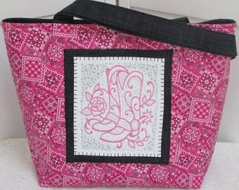 Pink Cowboy Boots Large Tote Bag Western Boots Purse Country Tote Pink Bandana Country Shoulder Bag Ready to ship