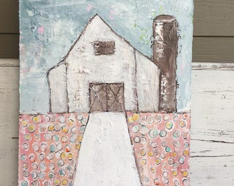 Barn painting, 18 x 24, folk art, blues and whites, barn, farmhouse art,original painting, farmhouse decor, rustic barn, cotton fields