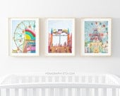 Nursery Art Set // Modern Brightly Colored Nursery Art // Prints for Bright Kids Room// Colorful Carnival Theme Park - SET OF 3