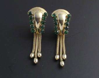 Green Rhinestone Earrings, 1940s Earrings, Green Earrings, Retro Earrings, Long Earrings, Tassel Earrings