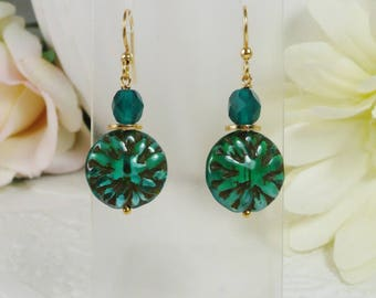 Earrings with Green Textured Coins Gifts for Her