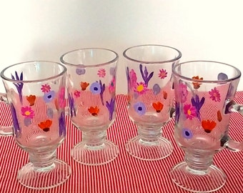 Handpainted Libbey Glassware Floral Mugs