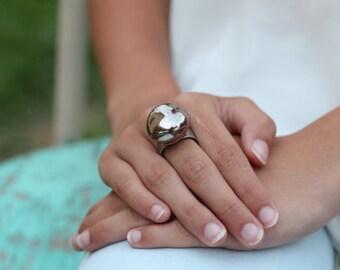 Ceramic jewelry Golden brown ceramic ring Statement ring