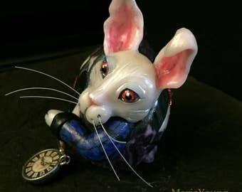 Alice in Wonderland White Rabbit OOAKOrnament Egg Art