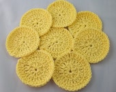 Facial scrubbies, cotton pads, wash cloths, for her, yellow, cotton rounds, reuseable, go green, cleansing pads, stocking stuffer