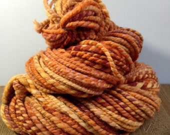 "Handspun Wool Yarn, ""Fall Mums B"" , Hand Dyed Merino Wool Yarn, Bulky Yarn, Chunky Yarn"