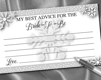 10 Bridal Shower Advice Cards, Bride to Be Advice, Bridal Shower, Bachelorette Party, Winter Snowflakes, Silver or Gold