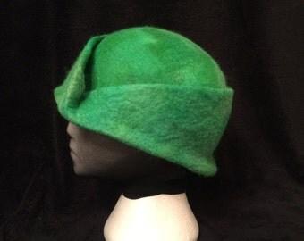 Original design, merino wool wet felted formal cloche style hat
