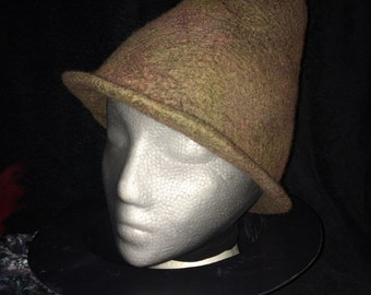 Fez style hat, wet felted with hand dyed merino wool