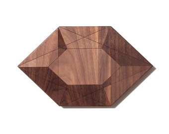Personalized Cutting Board Small Geometric Crystal Shaped Walnut Cutting Boards, Kitchen Decor, Wedding Gift