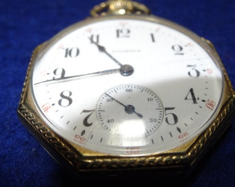 Vintage Illinois 12 Size 17 Jewels Pocket Watch In 14K GF Octagon Case