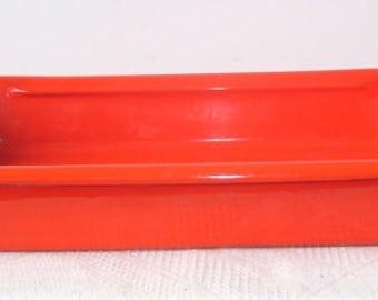 """Mid- Century Modern Bright Orange Enamel Lasagna Baking Pan.  Measures 16 1/4"""" long x 10"""" wide, Kitchen Bright Baking Dish"""