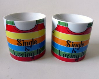 Are you living the Single Life?  Vintage Enesco Single and Loving it Salt and Pepper Shakers