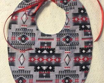 Bib - Native American Crimson & Gray Print