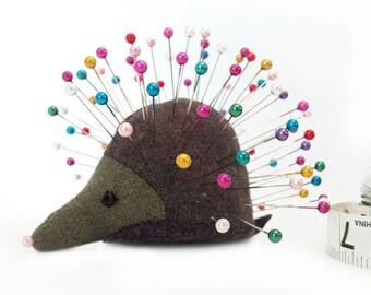 Pincushion, Hedgehog, upcycled wool, handmade, Lavender Rue