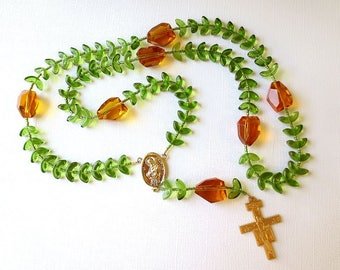 """Olive Green and Gold Franciscan Crown Rosary with """"Leaves"""" - Saint Francis Center and San Damiano Cross"""